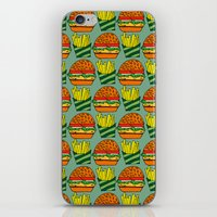 vegetarian iPhone & iPod Skins featuring burger vegetarian and french fries by fmppstudio
