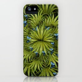 """El Bosco fantasy, tropical island blue butterflies"" iPhone Case"