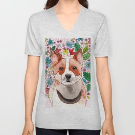 Heeler in Autumn Unisex V-Neck