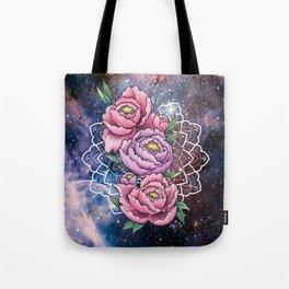 Space Peonies Tote Bag