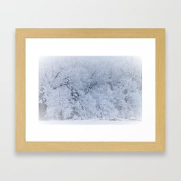 First Snow Fall Fresh Snow on Trees Nature Photography ~ Winter Hush Framed Art Print