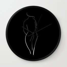 Minimal line drawing of a nude woman - black and white Wall Clock