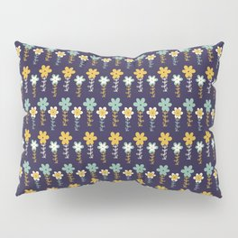 Teal and Yellow Doodle Daisy Floral Pattern Pillow Sham