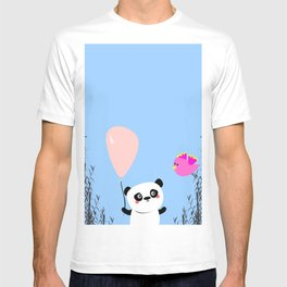 Cute Panda and Bird T-shirt