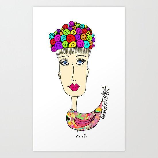 Birdie Girl Art Print