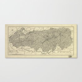 The Great Smoky Mountains National Park Map (1935) Canvas Print