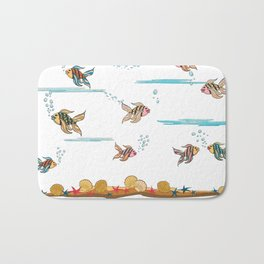 colorful fishes and seashells - white Bath Mat