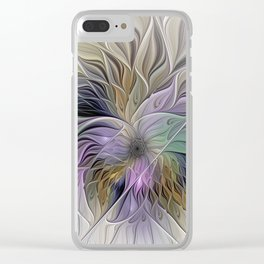 Abstract Flower, Colorful Floral Fractal Art Clear iPhone Case