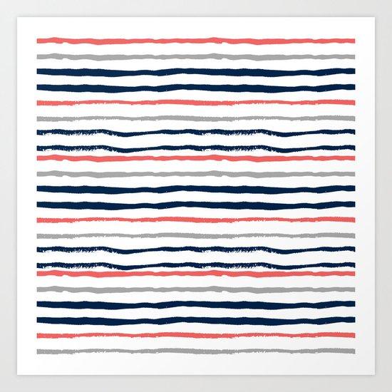 Minimal stripes painted stripe pattern navy modern trendy color palette nursery Art Print