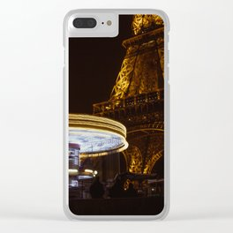 Eiffel Tower Carousel Clear iPhone Case