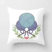 knitting Throw Pillows featuring Knitting by boots