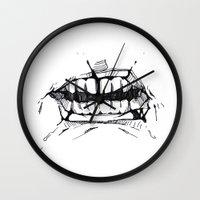 teeth Wall Clocks featuring Teeth by Tanya_Vazh