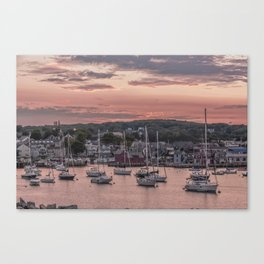 Rockport Harbor Autumn Sunset Canvas Print