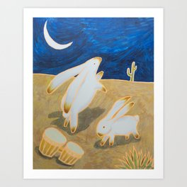Bongo Bunnies Dancing in the Moonlight Art Print