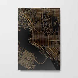 Black and gold San Diego map Metal Print