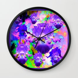 Purple-Pink Abstracted Iris Medley Art Wall Clock