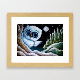 TINY BLUE OWL FOUND THE HOLIDAY PINE TREES Framed Art Print