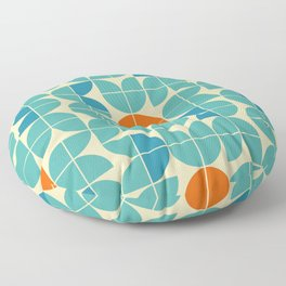 Mid century geometric floral shapes modern illustration pattern. Retro geometrical pattern sixties style. Abstract orange, green turquoise and aqua blue. Floor Pillow