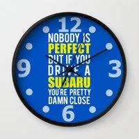 subaru Wall Clocks featuring Subaru Owners  by Barbo's Art