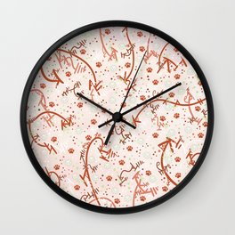 Peppermint Candy Paw Prints Wall Clock