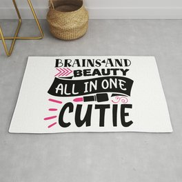 Brains And Beauty All In One Cutie Makeup Quote Rug