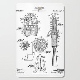 Rocket Ship Patent - Nasa Rocketship Art - Black And White Cutting Board