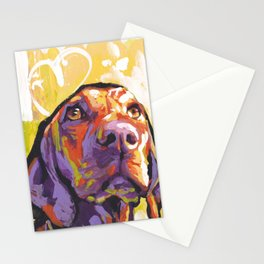 Vizsla Dog Portrait bright colorful fun Pop Art by LEA Stationery Cards