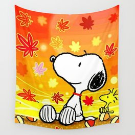 Snoopy saw the sunset Wall Tapestry