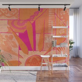 Hawaiian Sunshine Tapa Design Wall Mural