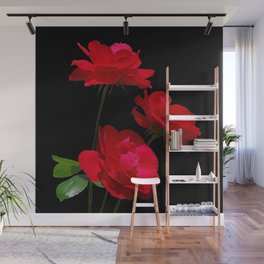 Red roses on black background Wall Mural