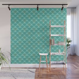 Art Deco Fan Pattern Turquoise on Aqua Wall Mural