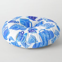 Blue Teacups and Mugs Floor Pillow