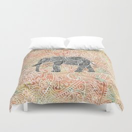 Tribal Paisley Elephant Colorful Henna Floral Pattern Duvet Cover
