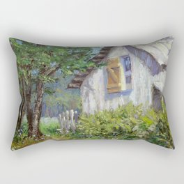 Whitewashed – Palette Knife Barn Painting Rectangular Pillow