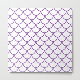 Purple Fish Scales Pattern Metal Print