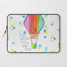Just Wanna Fly hot air balloon illustration nursery decor kids room watercolor painting Laptop Sleeve