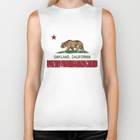 oakland Biker Tanks featuring Oakland California Republic Flag Distressed  by NorCal