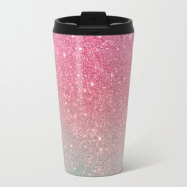 Modern neon pink teal faux glitter ombre patern Travel Mug