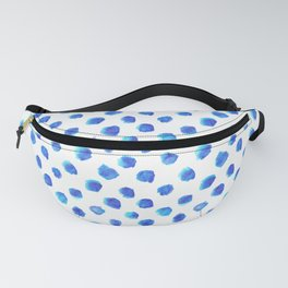 Watercolor Tie Dye Dots in Indigo Blue Fanny Pack