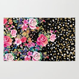 Modern watercolor spring floral and gold dots pattern Rug
