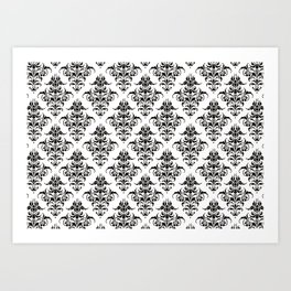 Damask Pattern | Black and White Art Print