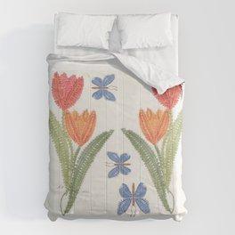 Tulipes et papillon en dentelle Comforters