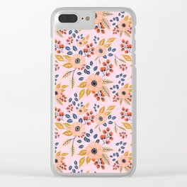 Blush Poppy Floral Pattern Clear iPhone Case