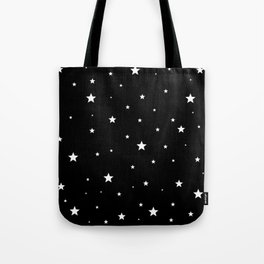 Scattered Stars - white on black Tote Bag