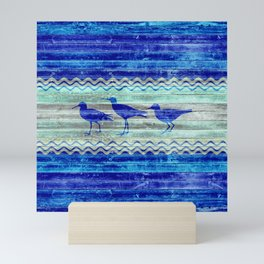 Rustic Navy Blue Coastal Decor Sandpipers Mini Art Print