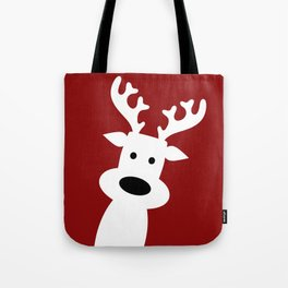 Reindeer on red background Tote Bag