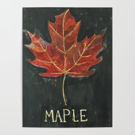 Fall Red Maple Leaf Black Background Poster