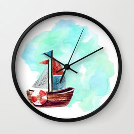 Ship in the Watercolor Wall Clock