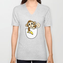 Pocket Monkey Unisex V-Neck