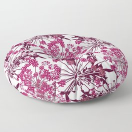 Laced crimson flowers on a white background. Floor Pillow